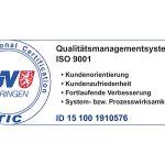 MIT erhält TÜV-Zertifikat ISO 9001:2015 Muster
